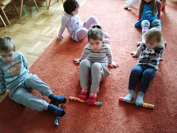 Children practice with Healthy Stick