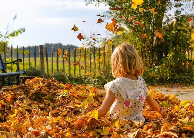 Little girl playing in the yard with leaves