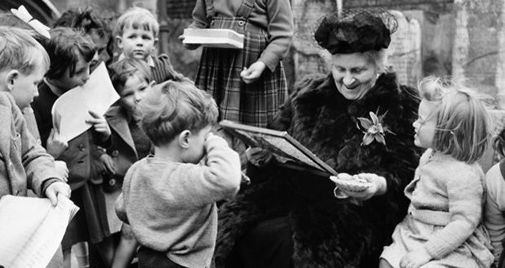 Maria Montessori with children, Photograph: Popperfoto/Getty Images
