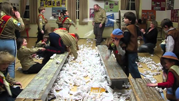 Indoor snowball fight, photo credit Scouts, Canada