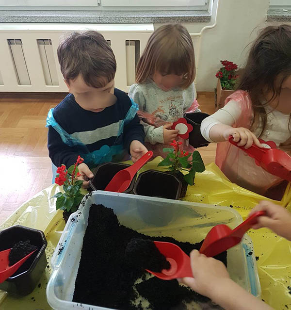 Seeding the plants with kids