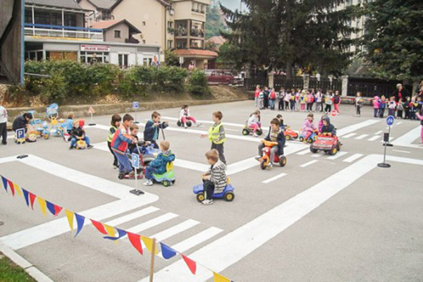 Activities in kindergarden, game Traffic Cop