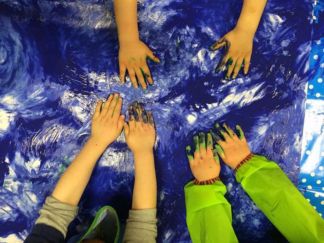 Children's colored hands