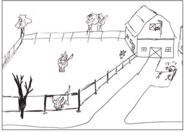 Barnyard drawing by a twelve-year-old who used perspective, overlap,and diminishing size to show depth