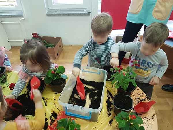 Children plant flowers