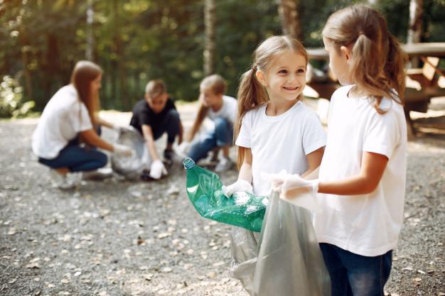 Children collect garbage