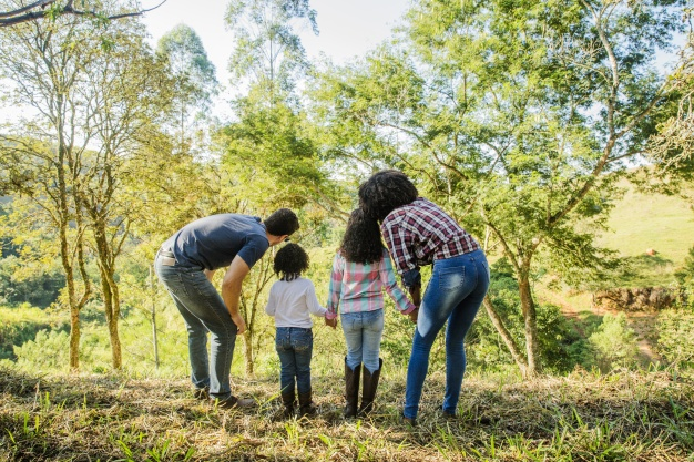 Young family exploring countryside
